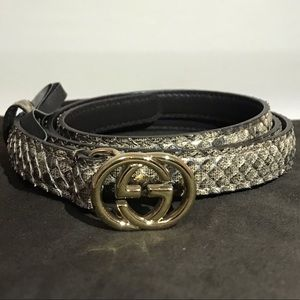 Thin Gucci snake skin GG belt